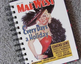 Recycled Mae West Movie Poster Notebook Journal