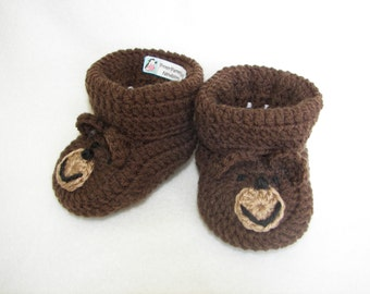 Baby Booties, Teddy Bear NB to 6 Months or 6 to 12 Months Finely Finished Crochet Baby Gift
