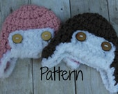 Crocheting Pattern Baby Aviator Hat, Chunky Newborn Photography Prop, Instant Download