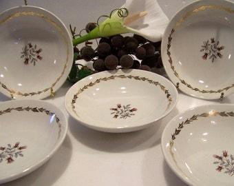 Vintage Royal Warranted 22 kt Gold Fine China Berry Bowls Whisper