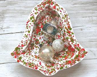 Mid Century Bell Ceramic Dish Green Red Splatter Glaze