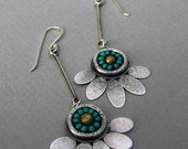 Seed-bead, lotus flower earrings: Long, dangle sterling-silver and turquoise seed-bead lotus flower earrings