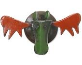 Wall Sculpture Moose Head Animal Art Metal