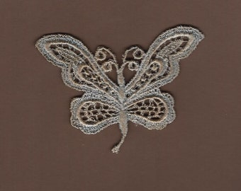 Hand Dyed Venise Lace Applique Butterfly  Aged Denim Blue