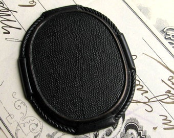 40x30mm brooch mount, cameo setting, black brass frame, oval blank, rope edge trim trim, antiqued, 30x40mm, 40 x 30 40mm 30mm, 40x30