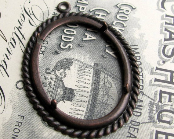 Rope edge 40x30mm 30x40mm, pronged oval setting, cameo cabochon frame, antiqued black brass mount, oval frame, 40x30 30x40 40mm 30, CFSV026