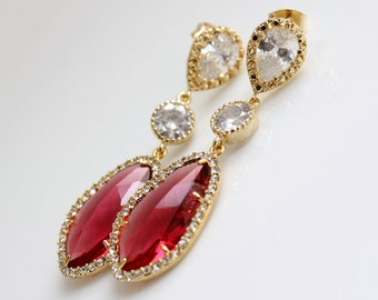 Red Earrings Wedding Jewelry Red Gold Bridal Earrings Wedding Earrings Cubic Zirconia Posts with Ruby Red Glass drops