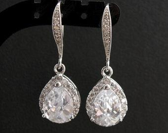 Crystal Drop Earrings Wedding Jewelry Teardrop Wedding Earrings Crystal Bridal Earrings Cubic Zirconia Dangle Earrings, Kaly