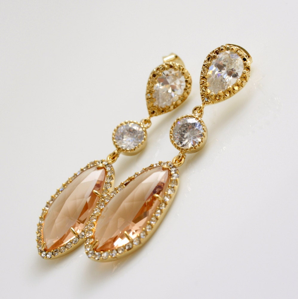Peach bridal earrings champagne wedding earrings gold peach for Jewelry for champagne wedding dress