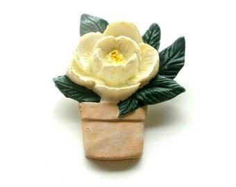 Vintage White Resin FlowerBrooch, Flower Pot Brooch, Garden Jewelry, Coat Brooch, Jacket Brooch, Hat Brooch, VisionsOfOlde