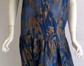 vtg 1920s art deco silk lame flapper cocktail dress