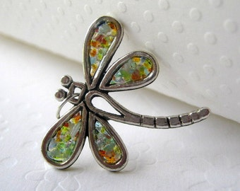 Speckled Dragonfly Necklace, Colorful Dragonfly, Stained Glass Dragonfly, Dragonfly Jewelry