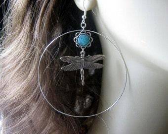 Large Hoop Earrings, Dragonfly Hoop Earrings, Teal Hoop Earrings, Large Hoop Earrings, Stained Glass, Dragonfly Earrings, Dragonfly Jewelry