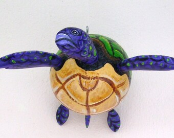 Turtle Coconut Turtle Hand Painted and Hand Crafted From Real Coconut Seed Pod Frond