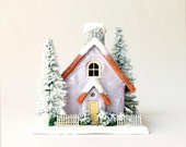 Fairy Putz Christmas Village House - Miniature Lavender Pearl House - Winter Scene with Snow Covered Trees and Base - bewilderandpine