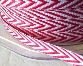 Chevron Stripes Red Twill  Ribbon 1/4 inch  2 yards
