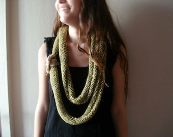 30% OFF SALE - Organic cotton bamboo infinity scarf, knit cowl, circle Narrow Scarf