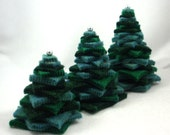 Christmas Trees Set of Three From Handmade Wool Felt Evergreen Dark Forest Green Blue Spruce Eco Friendly Decoration