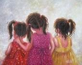 Three Sisters Art Print, three girls art, brunette girls wall art, childrens art, sister love, pink, red, sister gift Vickie Wade art