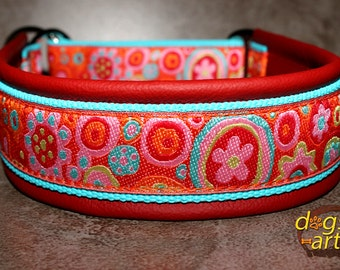 "Dog Collar ""Crazy Flower"" by dogs-art, martingale collar, leather dog collar, dog collar leather, slip dog collar, summer dog collar, floral"
