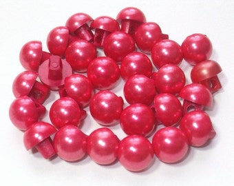 Pearl Red Vintage Plastic Buttons 8mm with Shanks 30 Pearlized Buttons Christmas Crafts