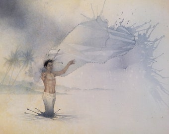 Fisherman - Original Mixed Media Drawing