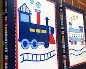 2-pc Locomotive Canvas Art for Nursery, Boys Room