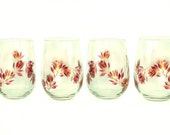 Hand Painted Stemless Wine Glasses - Burgundy and Gold Roses, Original Design, Set of 4 - HandPainted Wine Lover Glasses