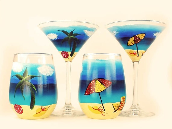 Items Similar To Hand Painted Martini Cocktail Set Fun