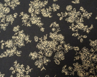 Black and Gold quilting fabric Gold Roses 100 percent cotton 1 yard