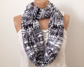 Aztec Striped Infinity Scarf in Black and White