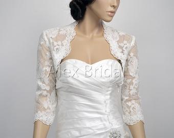 Ivory 3/4 sleeve bridal alencon lace wedding bolero jacket