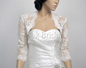 Ivory 3/4 sleeve bridal alencon lace bolero wedding bolero jacket