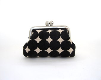 Frame Coin Purse Black Dots -Mini Jewelry Case with Ring Pillow