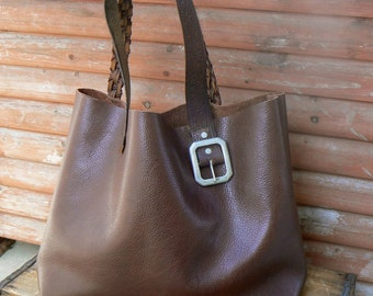 Brown Leather Market Tote with Repurposed Belt Handles