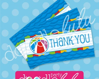 Pool Party Favor Tags - Beach Bash Birthday Party - Summer Splish Splash - Thank You Favor Tags -  PRINTABLE, INSTANT DOWNLOAD
