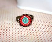 Red Flower Adjustable  Ring, Boho Ring, Holiday Jewelry, Gift