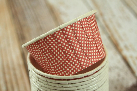 Mini Paper Candy Cup : Red mini dots paper candy cups partyware by lemoncatshop
