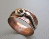 Silver Serpent Snake Copper Spinner Ring Custom Size