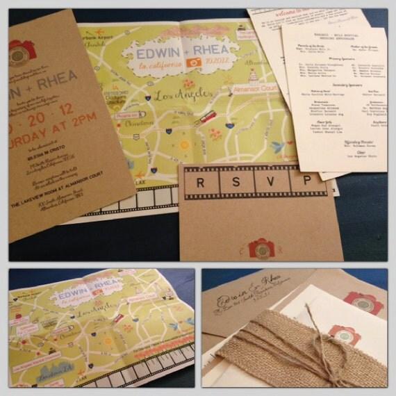 Custom Fun Wedding Map with Itinerary == Los Angeles, California