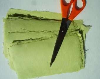 Ten little sheets of handmade avocado abaca kozo paper