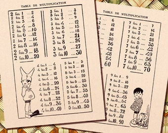 vintage French Multiplication Table 1930s mathematic illustrations Instant Digital Download 123