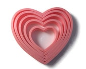 Pink Heart Plastic Cookie Cutters - Valentines - 5 pieces