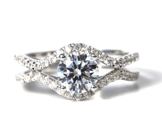 1.45 carat Round - Diamond Engagement Ring 14K white gold - Split Open Double Shank - Weddings- Luxury- Brides - Bp028