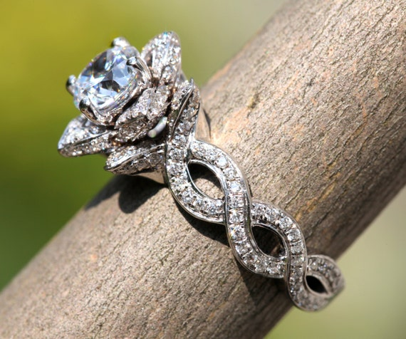 EVER BLOOMING LOVE - Diamond Engagement Flower Ring - Infinity - Gorgeous  Unique Rose -Lotus