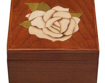 Wooden Jewelry Box Ring Box Trinket Box Rose Inlay, Custom Order