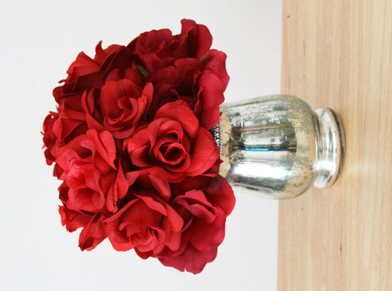 Red silk roses in silver vase tabletop centerpiece bridal