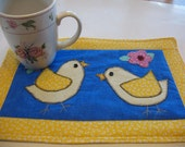 Appliqued Quilted Spring Chicks Mug Rug or Personal Placemat Set of 2