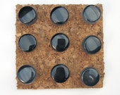Black Glass Tile Push Pin Set