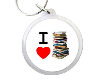 """I HEART BOOKS Keyring 1.75"""" Keychain for Students, Librarians and Book Lovers Everywhere!"""